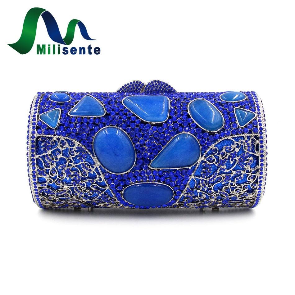 ФОТО Milisente Women Luxury Bags Agate Crystal Clutch Blue Evening Bag Diamond Day Clutches Party Handbags Small Wedding Purse Chain