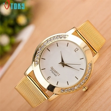Drop Shipping Watch Women Lady Fashion Gold Mesh Band Rhinestone Wrist Watches 170626