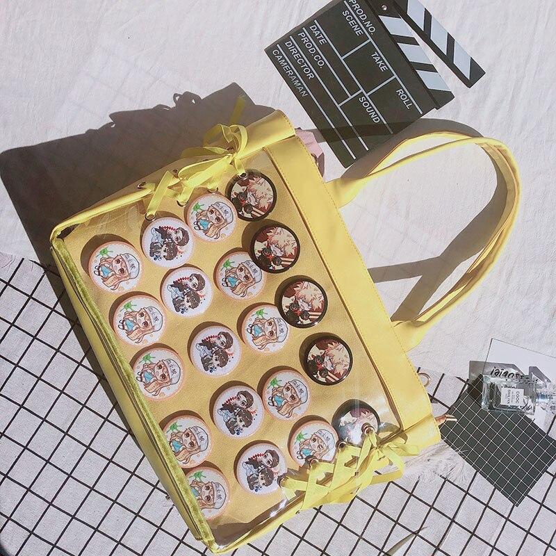 Image 5 - Japanese Sweet Lolita Harajuku Transparent Itabag JK Ita bag Cosplay Girl Shoulder bag Preppy Style Kawaii Mori Girls Travel Bag-in Shoulder Bags from Luggage & Bags