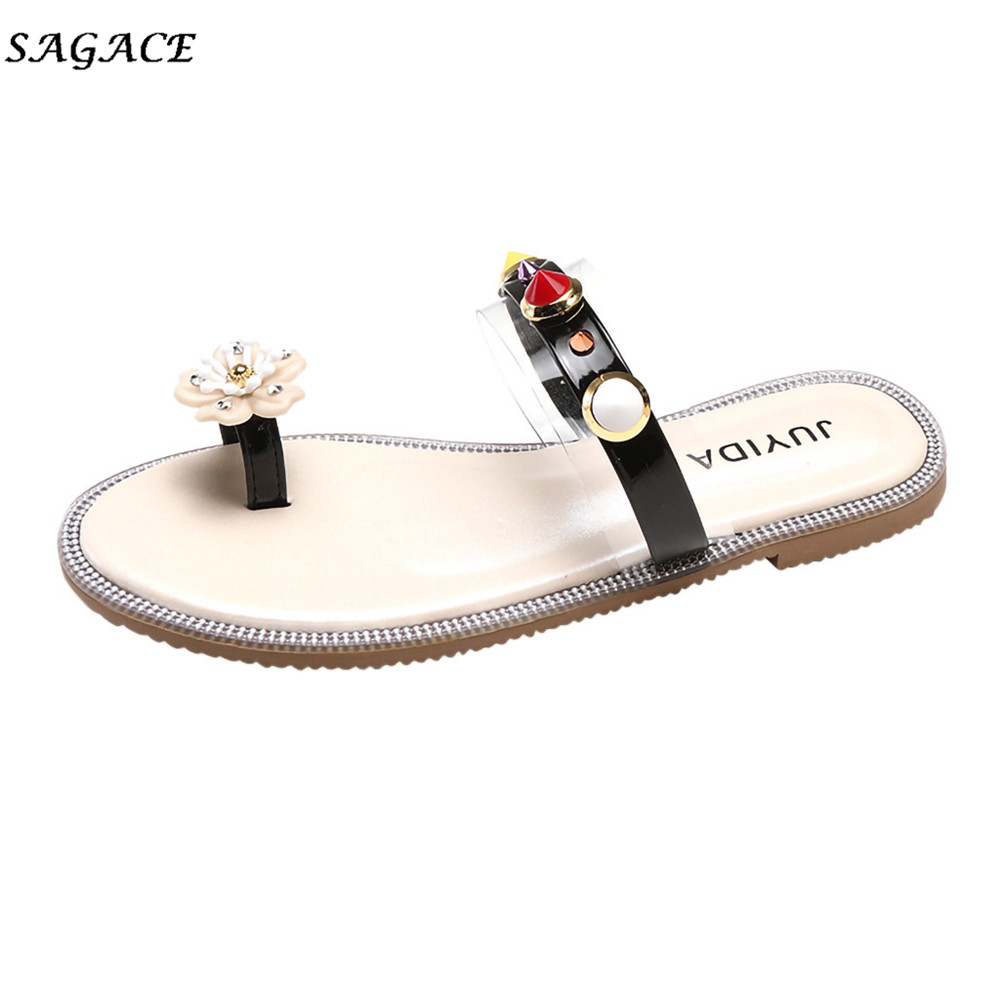 SAGACE Shoes Women Rhinestone Flat Beach Slippers Girls Lady Open-Toe Flower Round Head Casual Summer Plastic Pearl SlippersSAGACE Shoes Women Rhinestone Flat Beach Slippers Girls Lady Open-Toe Flower Round Head Casual Summer Plastic Pearl Slippers