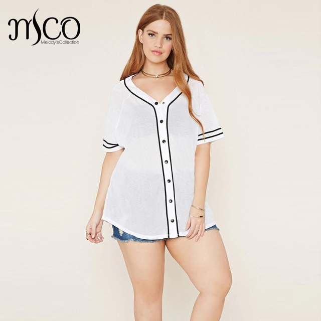 a837e1ec Casual Plus Size Women Baseball t-shirt Sexy V Neckline Short Sleeves  Contrast Varsity Stripes
