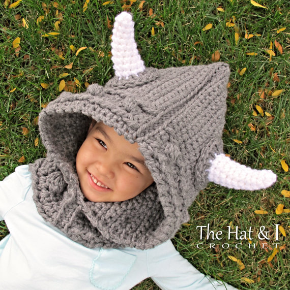 52d0c908386 100% cotton handmade crochet- Viking Style - a Viking Hooded Scarf   Hooded  Cowl and horns