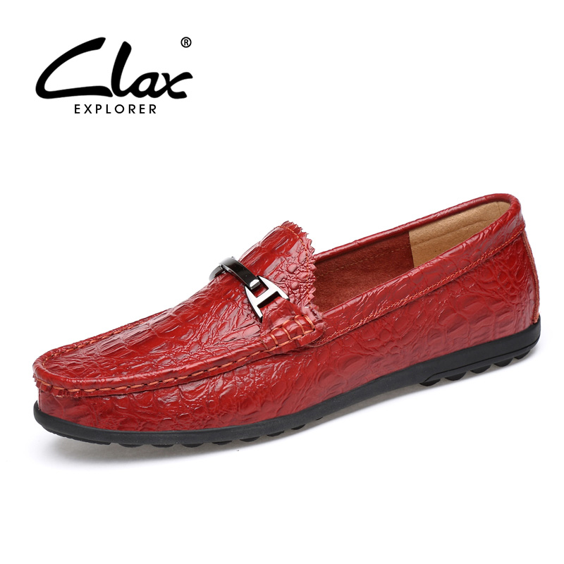 CLAX Men Loafers Summer Autumn Male Leather Shoe Crocodile Skin Printing Red Blue Casual Footwear Boat Shoes Soft Flat Moccasins choudory summer dress crocodile skin shoes men breathable prom shoes full grain leather pointy mens formal shoes shoe lasts