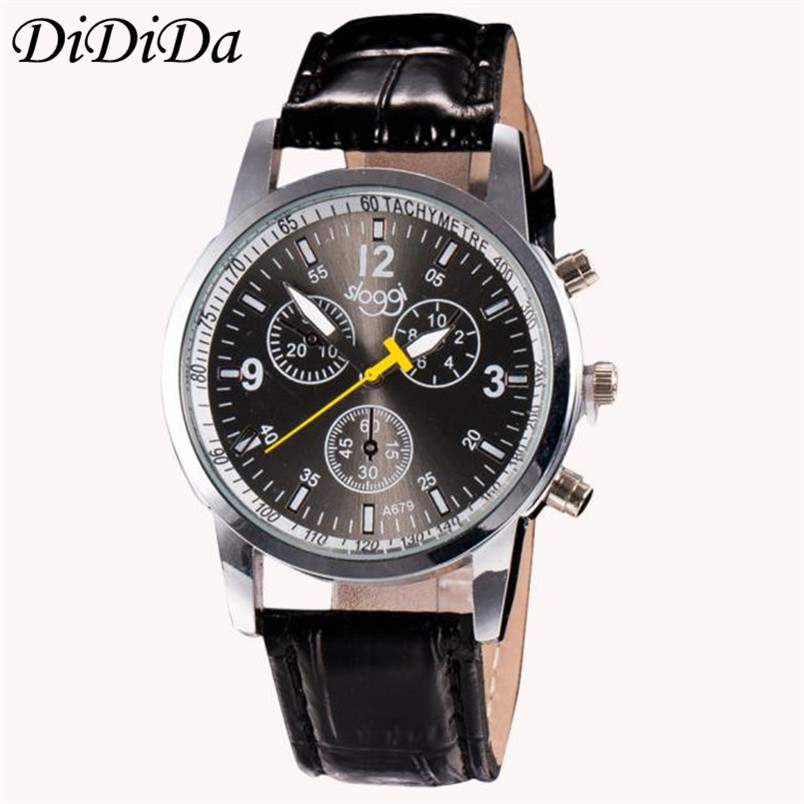 1pcs luxury fashion faux leather mens analog