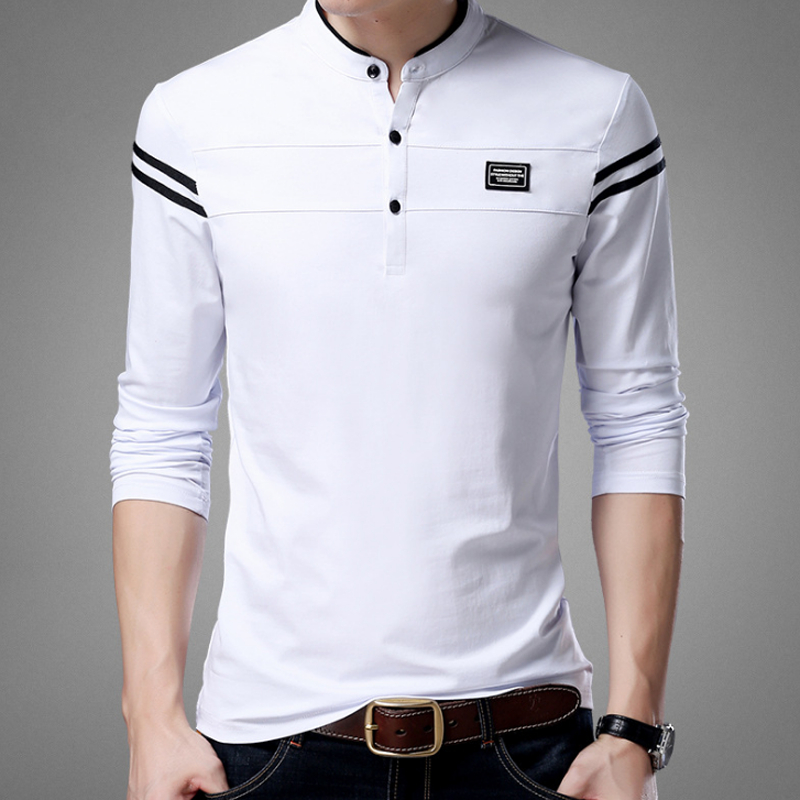 Liseaven Men T Shirt Man Long Sleeve tshirt Men's Clothing Mandarin Collar T-Shirts Tops & Tees Male Tshirts 1