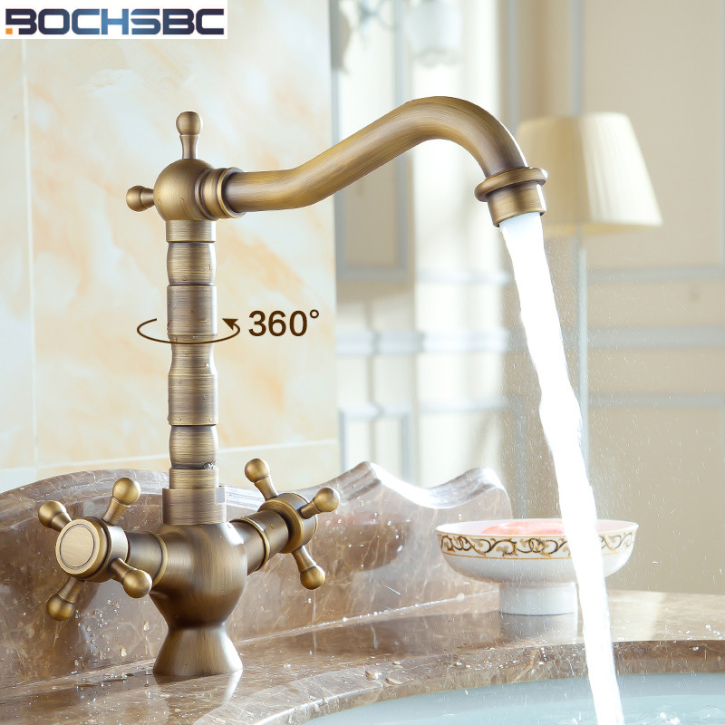 BOCHSBC 360 Rotation Brass Basin Faucet Dual Holder Antique Bathroom Kitchen Water Tap Mixer European Retro Torneira do banheiro newly arrived pull out kitchen faucet gold sink mixer tap 360 degree rotation torneira cozinha mixer taps kitchen tap