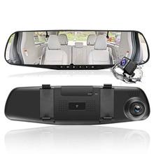 HGDO 4 3 FHD 1080P Dual Lens Car DVR White Mirror Dash Cam auto Recorder Rearview