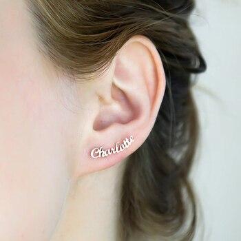 цена на 1 Pair Personalized Custom Name Earrings For Women Customize Initial Cursive Nameplate Stud Earring Gift For Best Friend Girls