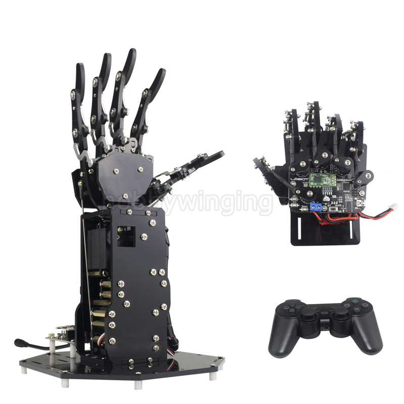 Bionic Robot Hand Palm Fingers Robotic DIY Kit /High Torque Manipulator Wireless Handle /Somatosensory Control Open source robot finger diy bionic palm mechanical hand humanoid manipulator five fingers anthropomorphi left righthand with servos
