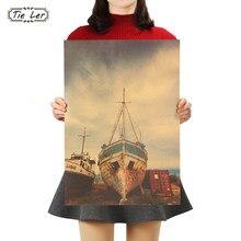 Gravata ler retro cartaz grande navio quebrado decoração de casa pintura navio foto parede adesivo decoração do quarto 36x51.5cm