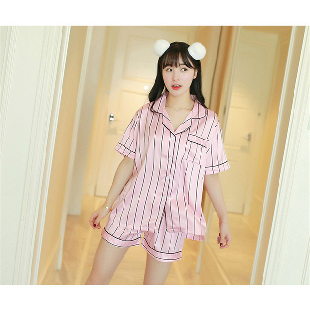 04ffd2498 JVJH Brand 2018 New Summer Women Pajamas Sets Soft Striped Women's pyjamas  Lounge Turn Down Collar
