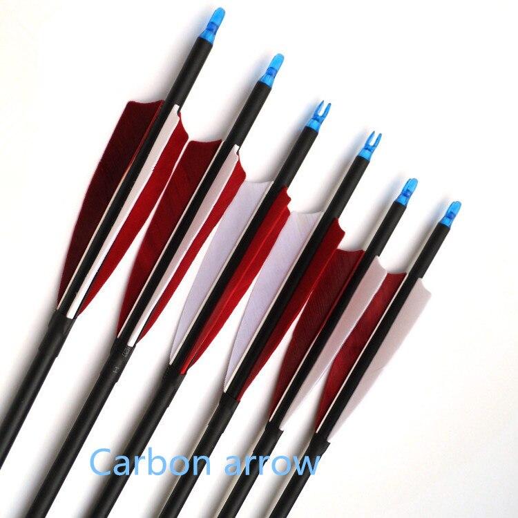 12 pièces usine directe mélange carbone flèche vraiment belle traditionnelle tir à l'arc activités de tir à l'arc peuvent changer tête de chasse