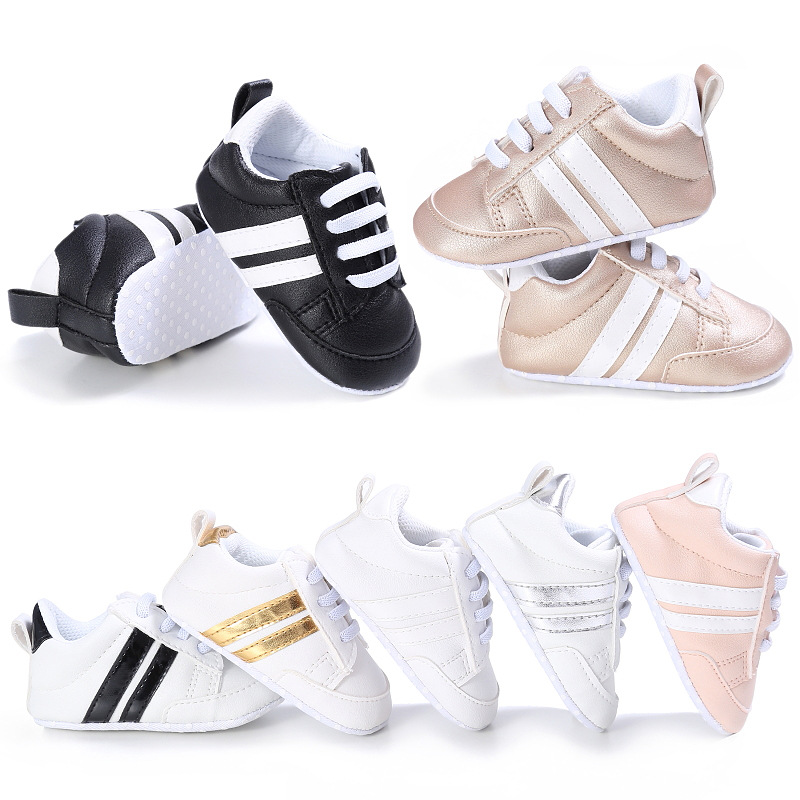 Fashion PVC leather Baby Moccasins Newborn baby Sneaker Sport Shoes lace-up 14colors Soft bottom autumn first walkers