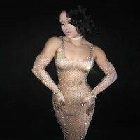 Женский новый сверкающий полный кристаллы сексуальное длинное платье Летний костюм для вечеринки сценическая одежда танцевальная певица