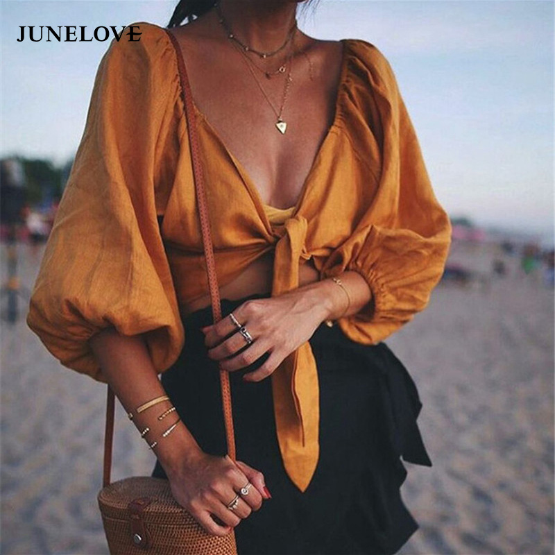 Brilliant Junelove Vintage Lantern Sleeve Women Bikini Cover Up Summer Ladies Cover-ups Beach Crop Short Top Sexy Bow Knot Lace Up Blouse