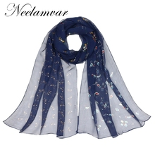Neelamvar 2017 new scarf flower print silk geogette scarf women chiffon long shawl oblong scarves wraps thin hijab wholesale