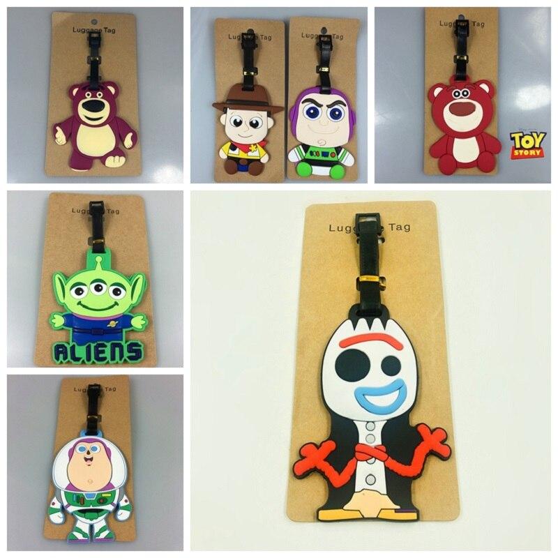 Juguete historia 4 juguetes WOODY Buzz Forky alienígena REX LISTO oso PVC etiqueta del equipaje, etiqueta de dirección de identificación de equipaje de etiquetas juguetes