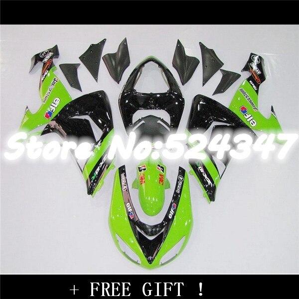 Fei-Free custom green black Fairings FOR KAWASAKI NINJA ZX10R 06-07 ZX 10R 06 07 ZX-10R 06-07 10 R ZX 10R 2006 2007 fairing kits