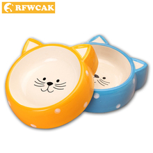 RFWCAK Pet Cartoon Cat Shape Ceramic Feeding Bowl Dog Kitty Anti-skid Food Bowl Feeding Drink Bowls Pet's Supplies Tool Pet Dish
