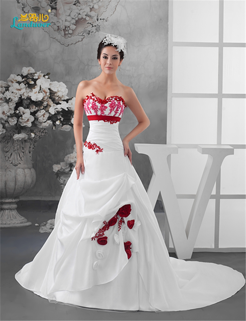 bienes de conveniencia lo último comprar auténtico vestidos de novia en color blanco y rojo