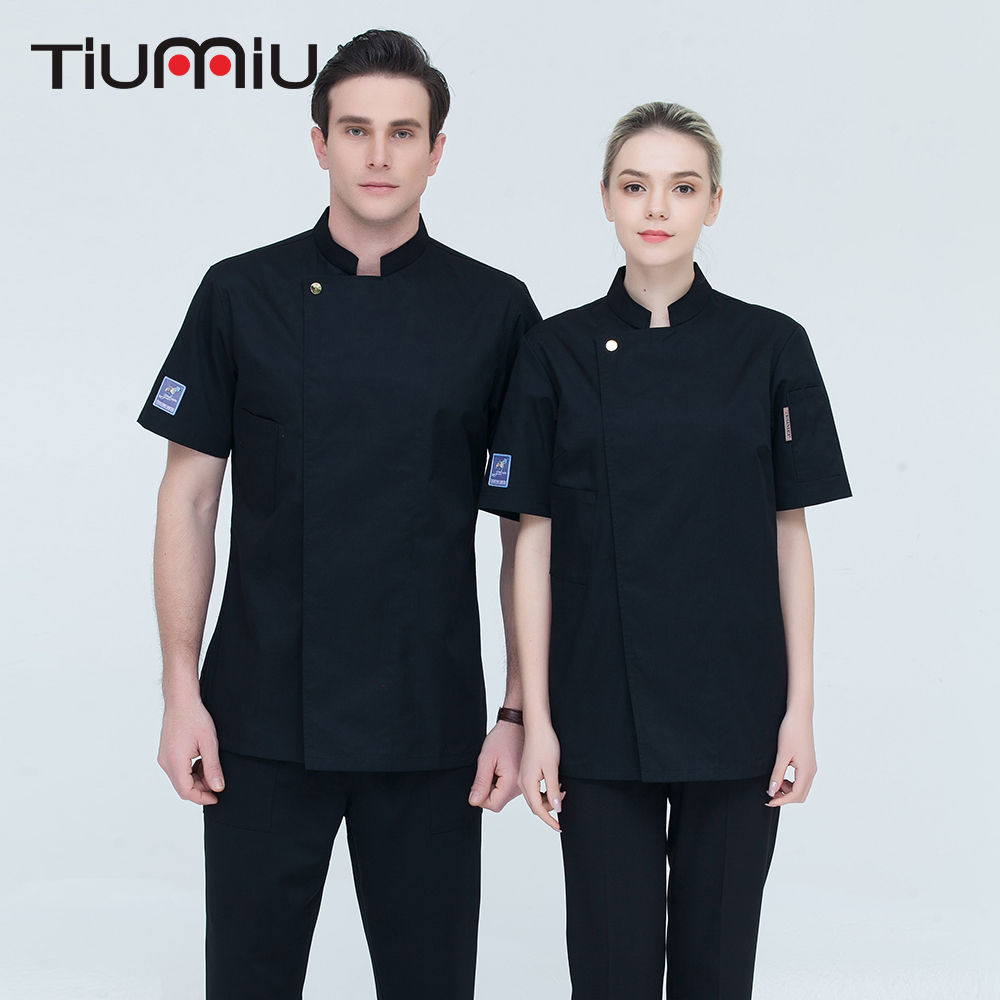 7 Colors High Quality Wholesale Women Men Short-sleeves Double Breasted Kitchen Chef Jacket Restaurant Cook Sushi Bakery Uniform