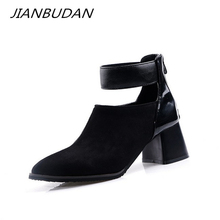 JIANBUDAN/Fashion brand design womens autumn boots Female high heel ankle Suede pu leather large size Bare 34-46