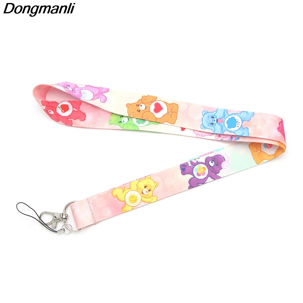 P2365 Dongmanli Care Bears Kids Keychain ID Card Pass Gym Mobile Phone Badge Holder Hang Rope Lariat Lanyard Key Holder