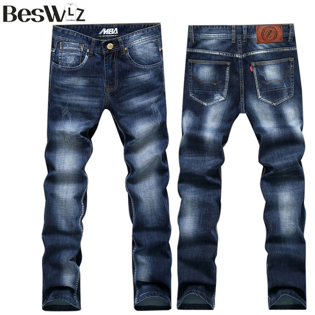 Beswlz New Arrival Men Jeans Pants Casual Fashion Classical Denim Jeans Men Slim Male Jeans Trouser Asian Size 34 6129
