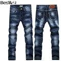 Beswlz nuevos hombres de la llegada pantalones vaqueros clásicos denim jeans de moda casual hombres pantalones vaqueros masculinos delgados pantalones tamaño asiático 34 6129