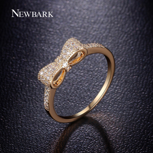 NEWBARK Fashion Gold Color Bow Knot Stackable Ring Micro Pave CZ Crystal Compati