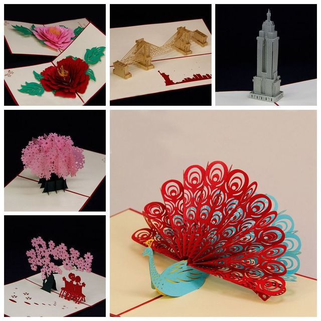 Amazing Handmade Greeting Cards Kirigami 3D Pop Up Card 6PCS SET Combination Sale Free Shipping