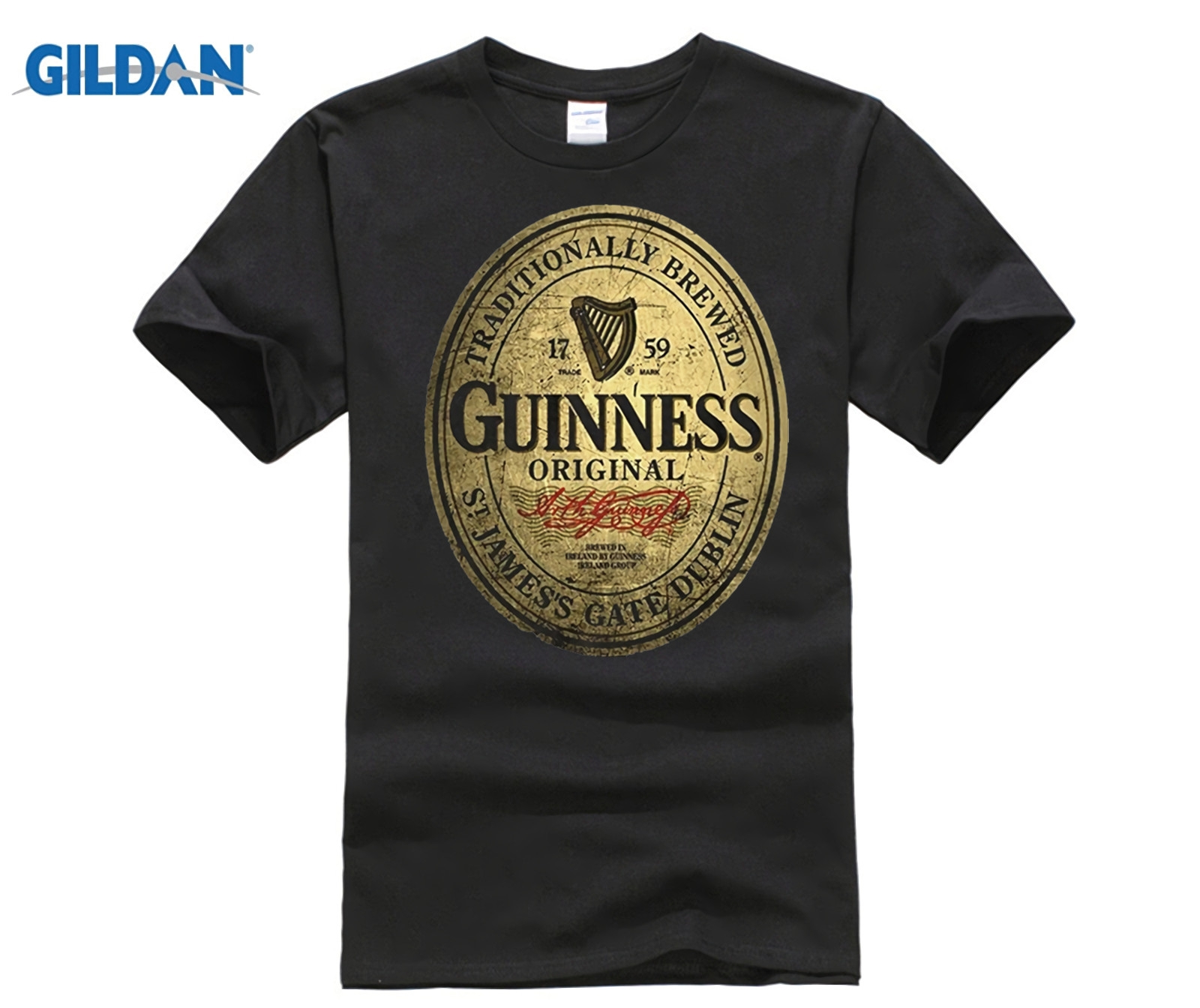 HOT deals funny   t     shirts   Guinness Label Vintage men's fashion   T  -  shirt
