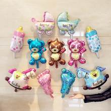 Cartoon Bear Pram Boy Girl Baby Bottle Foot Hobbyhorse Foil Balloons For Children Birthday Party Decoration Supplies(China)