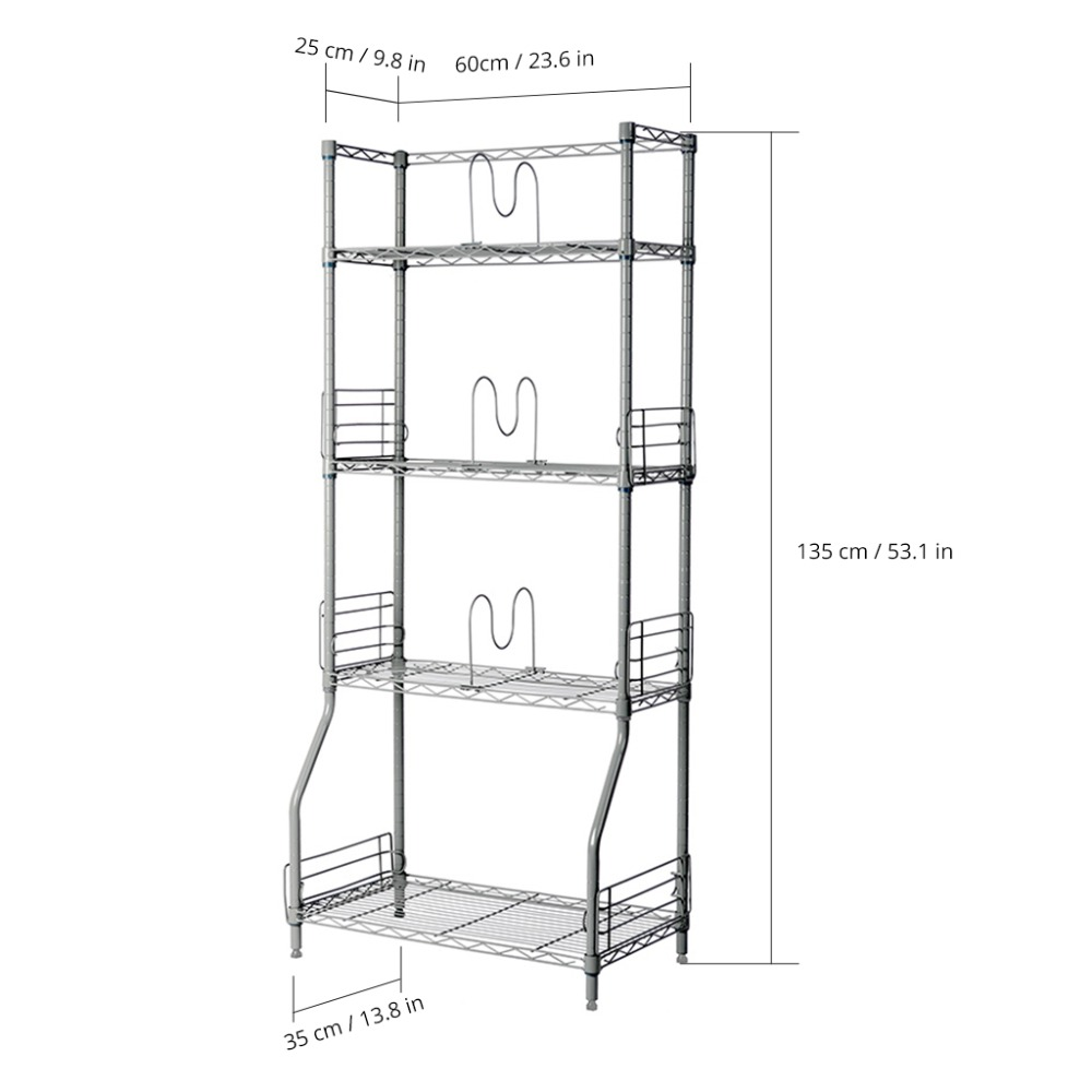 Langria Silver 4 Tier Wire Bookshelf Rack Storage Organization Racks