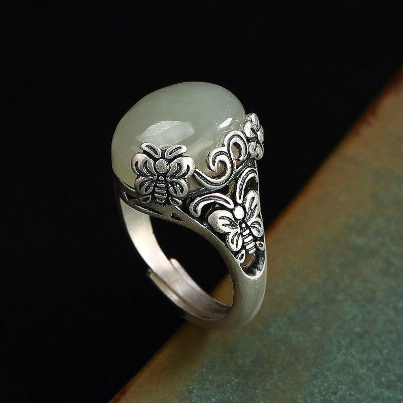 Luxe 100% véritable 990 sterling argent anneaux pour femmes rétro vintage papillon S990 argent réglable ouvert simple anneau