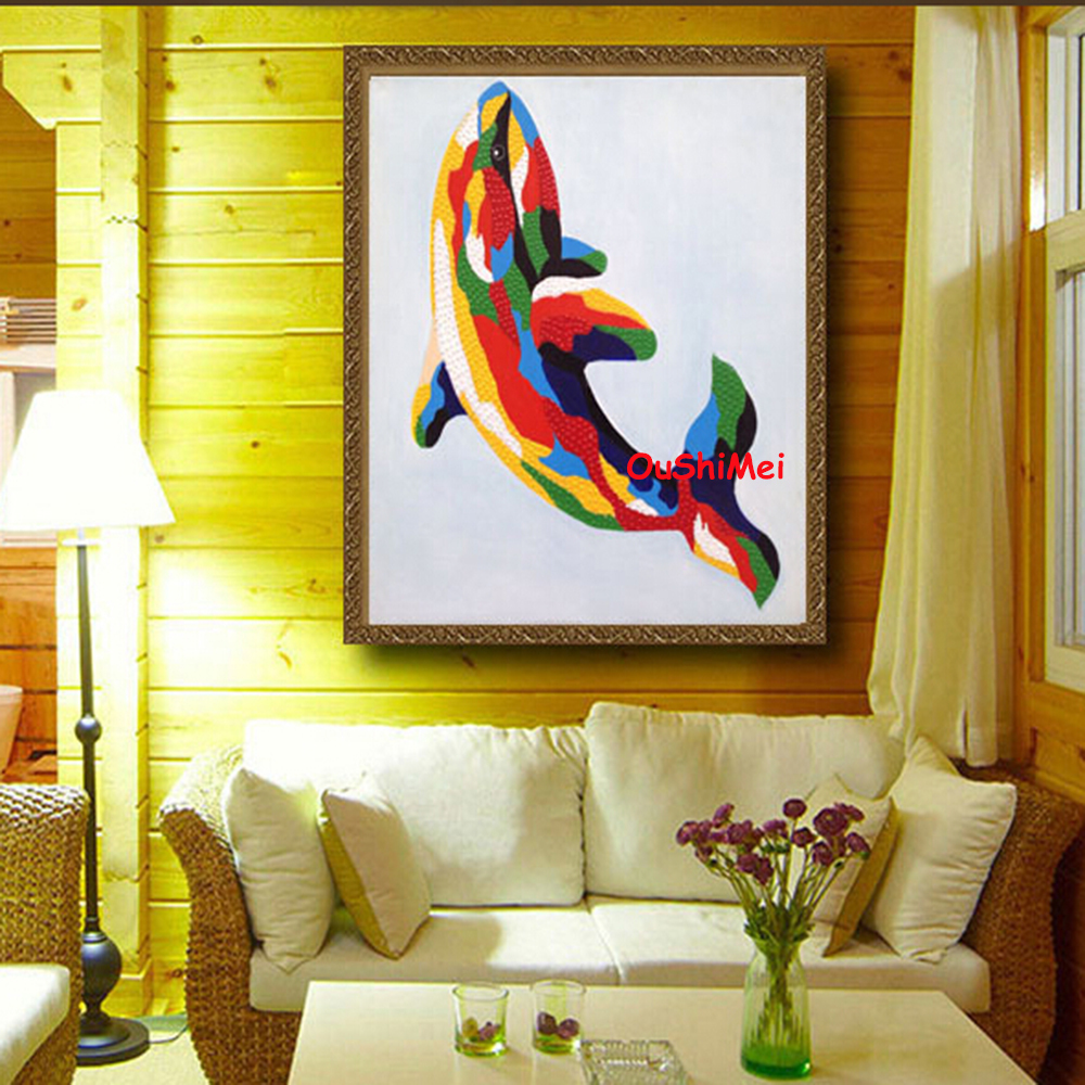 Hand Painted Dolphin Painting Abstract Wall Paintings for Room Decor ...