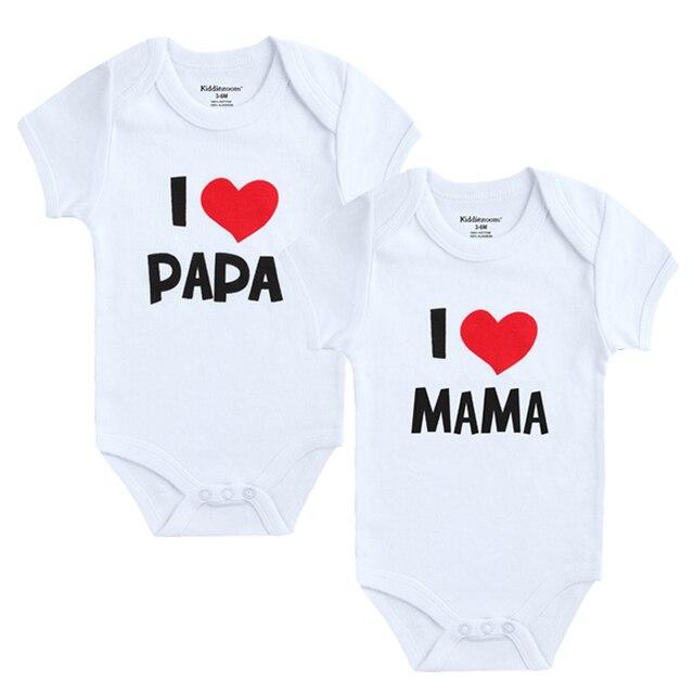 2 cái/lốc Sơ Sinh Quần Áo Trẻ Em Ngắn Tay Áo Cô Gái Cậu Bé Quần Áo TÔI Yêu Papa Mama Thiết Kế 100% Cotton Rompers de bebe trang phục Màu Trắng