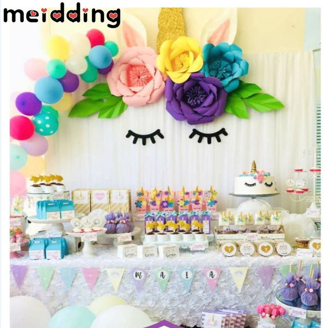 MEIDDING DIY Unicorn Theme Party Sets Birthday Decorations Artificial Rose Flowers Banner Cake Topper Foil Balloons Supply