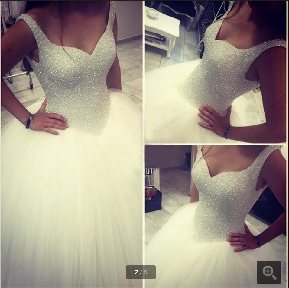 2016 ples šaty princezna svatební šaty skutečné obrázek silně obruby flitry svatební šaty hluboké v krku nevěsty šaty na prodej