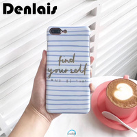 Fashion Blue Stripe Phone Case for iPhone 7 4.7inch Proverb Words Back Cover Light Protect Matte Hard Positive Fundas Fad Capa