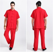 Red Tradition Chinese Style Men's Linen Kung Fu Sets Shirt Pants Trousers Suit Size M L XL XXL XXXL Free Shipping 2350-7
