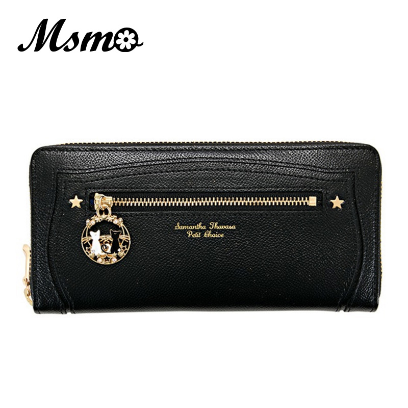 2017 New Samantha Vega Lady Long Short Piece Zipper Bag Women Brand Leather Kawaii Wallet Purse Portefeuille Femme Dollar Price dollar price new european and american ultra thin leather purse large zip clutch oil wax leather wallet portefeuille femme cuir