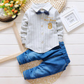 2016 spring new children striped bow-knot embroidery shirt Slim children two-piece sets denim pants suit