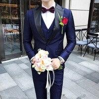 3pcs Men Suits Pants Set Navy Peak Collar Suits Tuxedos Wedding Suits For Men Costume Hommes Smoking Dinner Party Groom Marriage