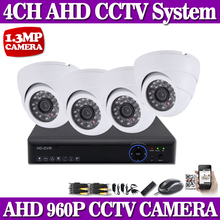 White Dome HD Camera CCTV Security 4CH 960P AHD DVR System Kit HDMI Output Remote View +4PCS 1.3mp indoor Dome IR 35M AHD Camera