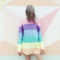 Women Pullover Urtleneck Rainbow Sweater Maccaron Color Stripes Loose Sweater Tumblr Female 2018 Spring Autumn New