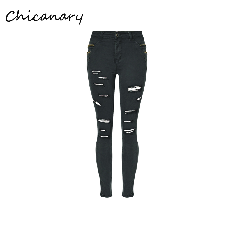 Chicanary Ripped Skinny Jeans Women Ankle length Denim Pants Black Zip Side Pencil Trousers