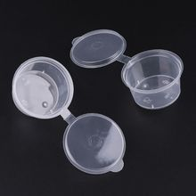 10 шт одноразовые прозрачные пластиковые чашки для соуса, чаши для хранения слизи, контейнер с крышками 30 мл