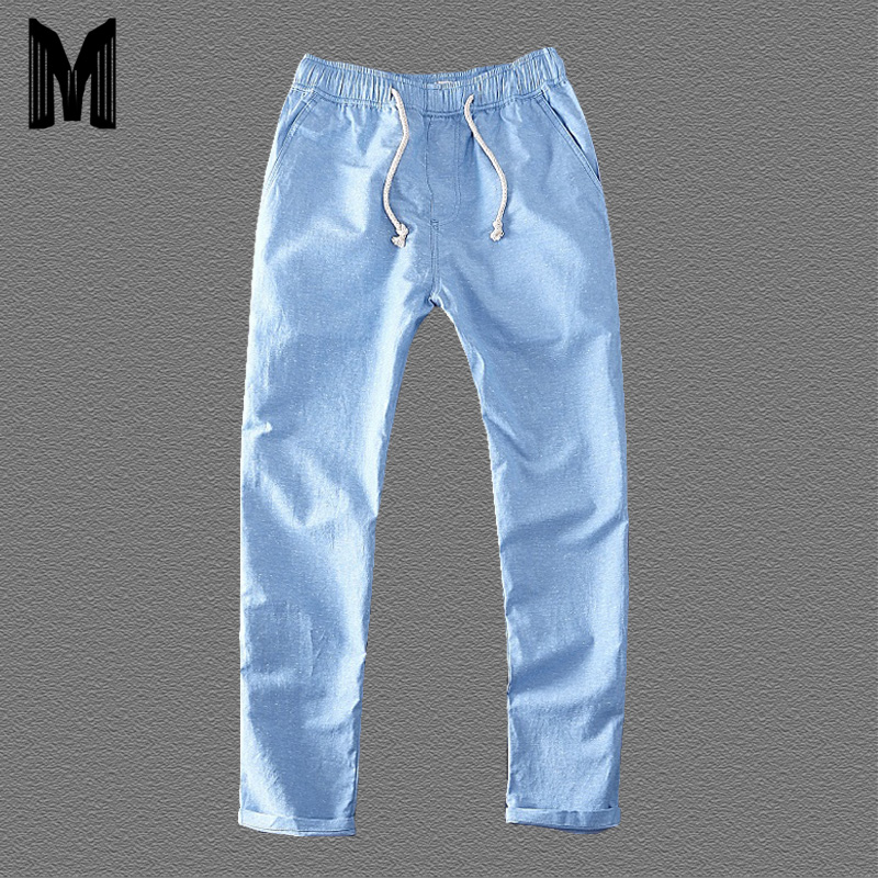 2020 Men's Summer Casual Pants Natural Cotton Linen Trousers Solid White Blue Elastic Waist Straight Man Straight Pants Y026