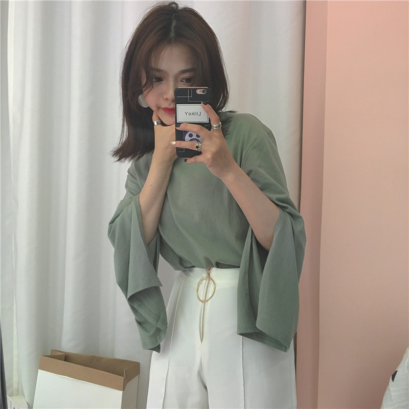 2019 Summer New Arrival Korean Style Solid Color Split Flare Sleeve T-shirt Off The Shoulder Tops For Women Free Shipping